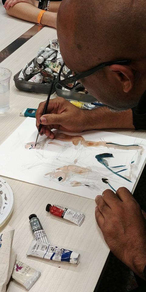Frank Espinosa disegna a Palmanova per Future Forum (credits Nova Ludica)